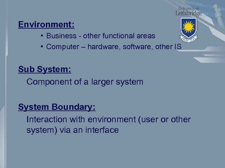 Environment: • Business - other functional areas • Computer – hardware, software, other IS