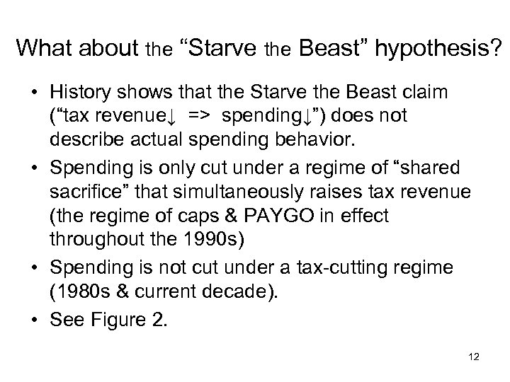 """What about the """"Starve the Beast"""" hypothesis? • History shows that the Starve the"""