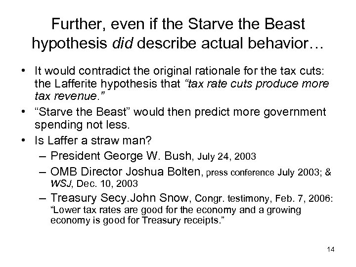 Further, even if the Starve the Beast hypothesis did describe actual behavior… • It