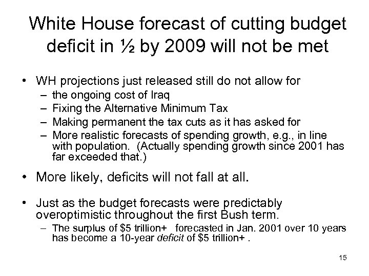 White House forecast of cutting budget deficit in ½ by 2009 will not be