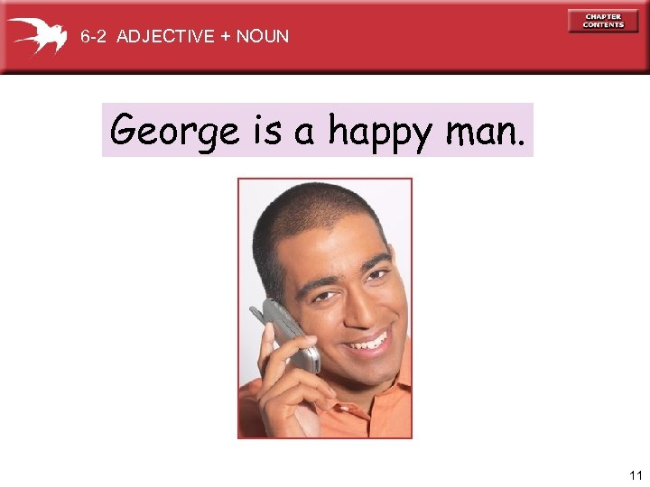 6 -2 ADJECTIVE + NOUN George is a happy man. 11