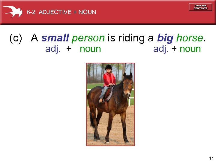 6 -2 ADJECTIVE + NOUN (c) A small person is riding a big horse.