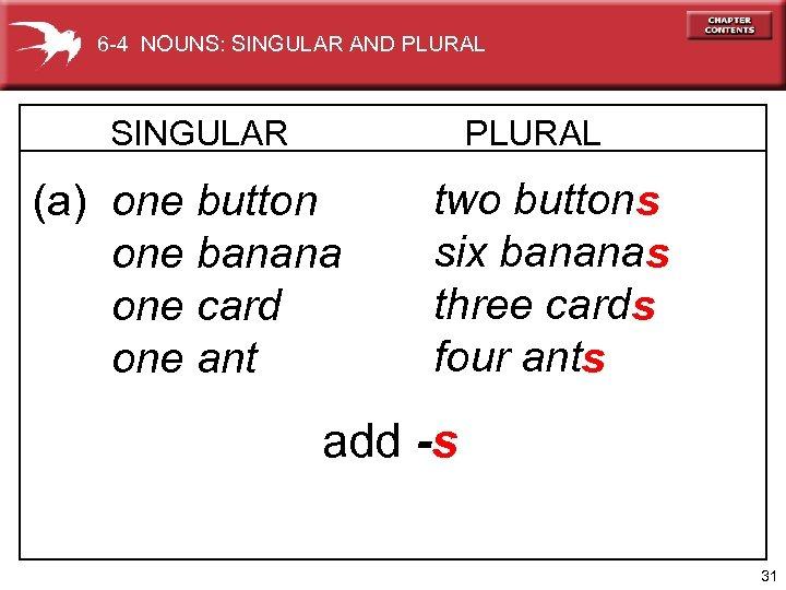 6 -4 NOUNS: SINGULAR AND PLURAL SINGULAR PLURAL (a) one button one banana one