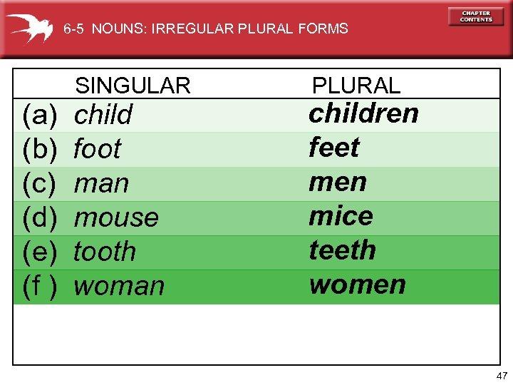 6 -5 NOUNS: IRREGULAR PLURAL FORMS SINGULAR (a) (b) (c) (d) (e) (f )