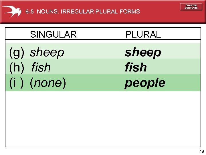 6 -5 NOUNS: IRREGULAR PLURAL FORMS SINGULAR (g) sheep (h) fish (i ) (none)