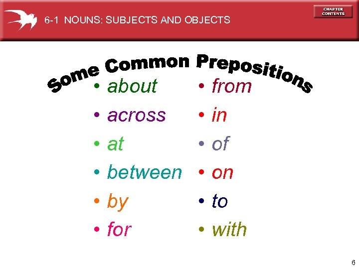 6 -1 NOUNS: SUBJECTS AND OBJECTS • • • about across at between by