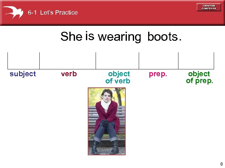 6 -1 Let's Practice She is wearing boots. subject verb object of verb prep.