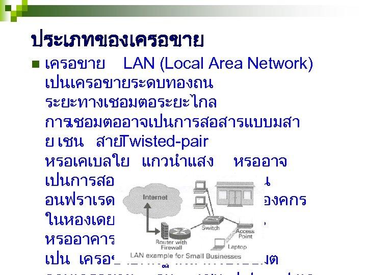 ประเภทของเครอขาย n เครอขาย LAN (Local Area Network) เปนเครอขายระดบทองถน ระยะทางเชอมตอระยะไกล การเชอมตออาจเปนการสอสารแบบมสา ย เชน สาย Twisted-pair
