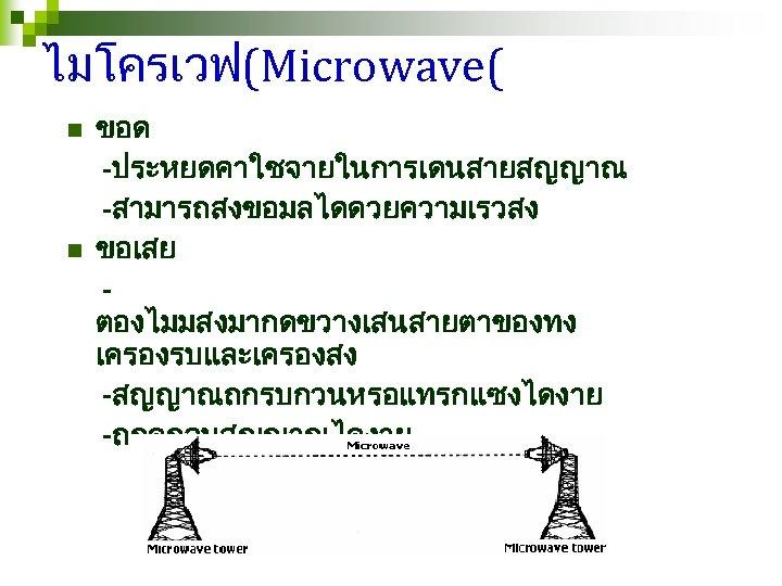 ไมโครเวฟ(Microwave( n n ขอด -ประหยดคาใชจายในการเดนสายสญญาณ -สามารถสงขอมลไดดวยความเรวสง ขอเสย ตองไมมสงมากดขวางเสนสายตาของทง เครองรบและเครองสง -สญญาณถกรบกวนหรอแทรกแซงไดงาย -ถกดกจบสญญาณไดงาย