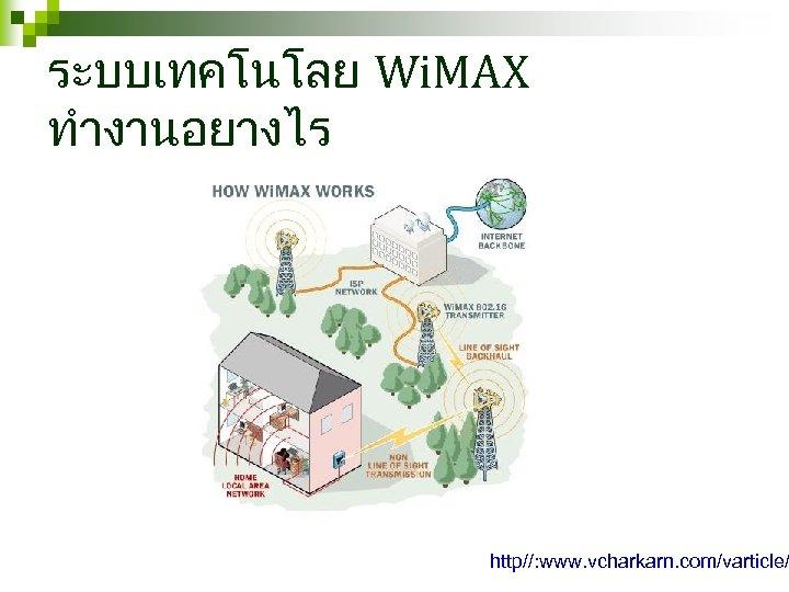 ระบบเทคโนโลย Wi. MAX ทำงานอยางไร http//: www. vcharkarn. com/varticle/
