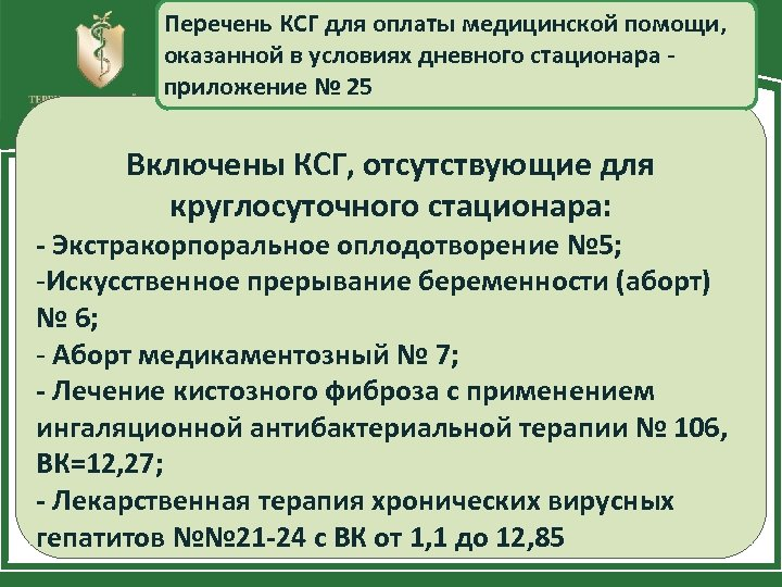 Перечень КСГ для оплаты медицинской помощи, оказанной в условиях дневного стационара приложение № 25