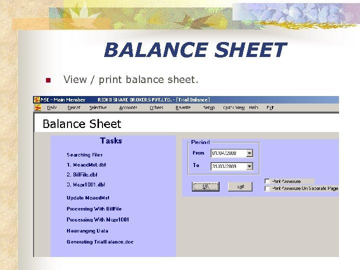 BALANCE SHEET n View / print balance sheet.