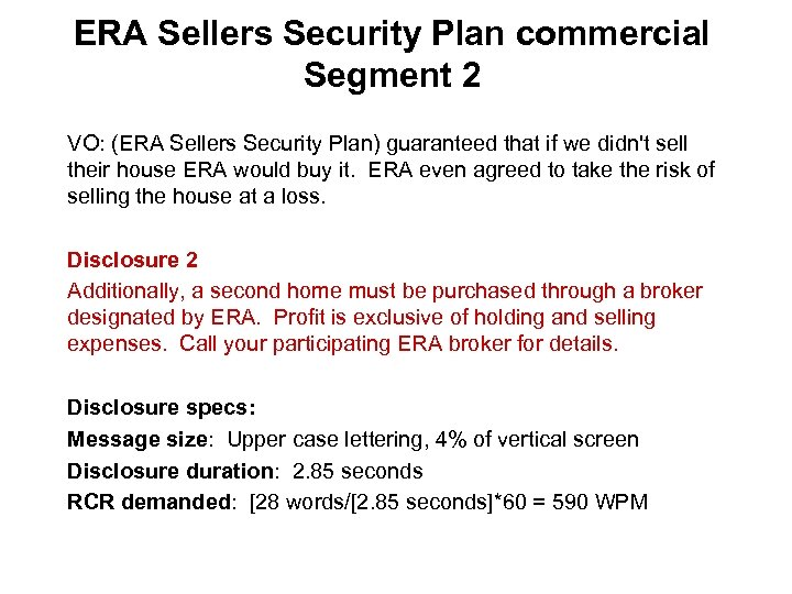 ERA Sellers Security Plan commercial Segment 2 VO: (ERA Sellers Security Plan) guaranteed that