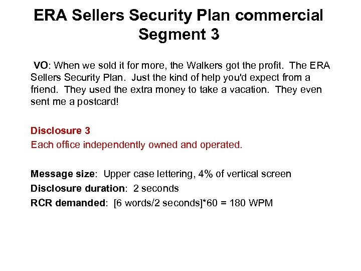 ERA Sellers Security Plan commercial Segment 3 VO: When we sold it for more,
