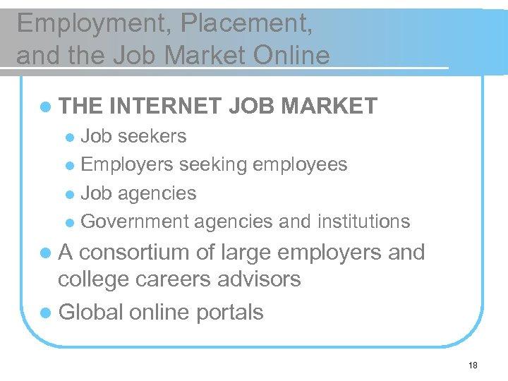 Employment, Placement, and the Job Market Online l THE INTERNET JOB MARKET Job seekers