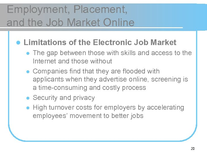 Employment, Placement, and the Job Market Online l Limitations of the Electronic Job Market