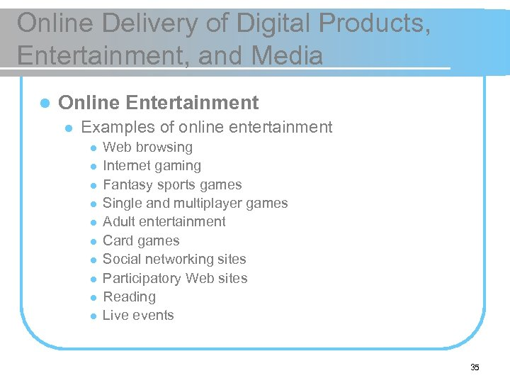 Online Delivery of Digital Products, Entertainment, and Media l Online Entertainment l Examples of