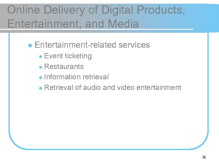 Online Delivery of Digital Products, Entertainment, and Media l Entertainment-related services Event ticketing l