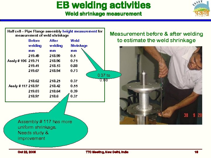 EB welding activities Weld shrinkage measurement Half cell – Pipe Flange assembly height measurement