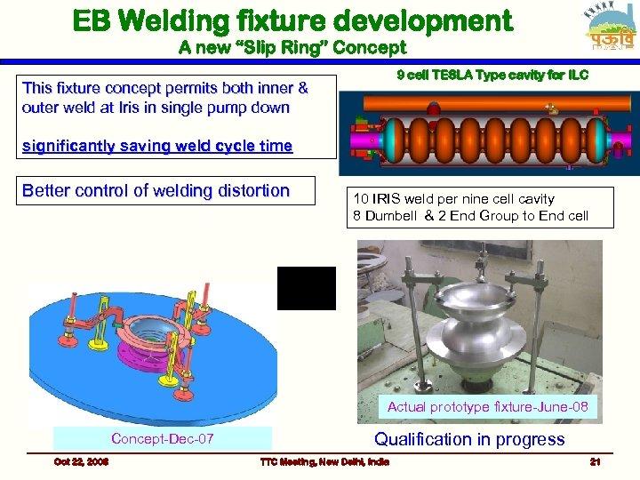 "EB Welding fixture development A new ""Slip Ring"" Concept 9 cell TESLA Type cavity"