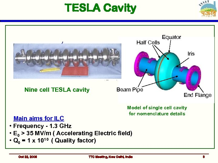 TESLA Cavity Half Cells Equator Iris Nine cell TESLA cavity Beam Pipe End Flange
