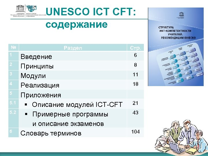 UNESCO ICT CFT: содержание № 1 2 3 4 5 5. 1 5. 2