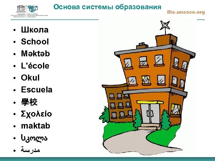 Основа системы образования ● ● ● Школа School Məktəb L'école Okul Escuela 學校 Σχολείο
