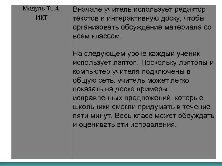 Модуль TL. 4. ИКТ Вначале учитель использует редактор текстов и интерактивную доску, чтобы организовать