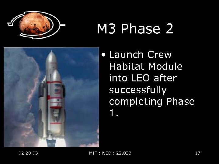 M 3 Phase 2 • Launch Crew Habitat Module into LEO after successfully completing