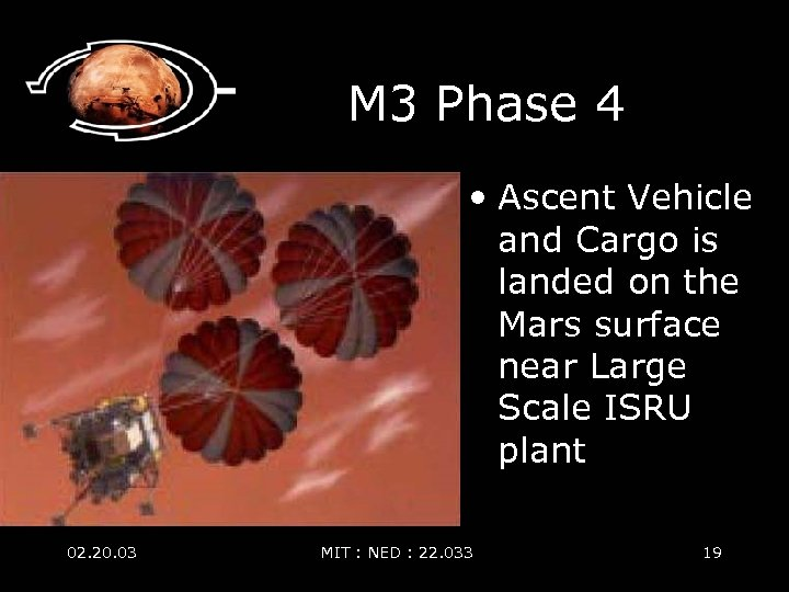 M 3 Phase 4 • Ascent Vehicle and Cargo is landed on the Mars