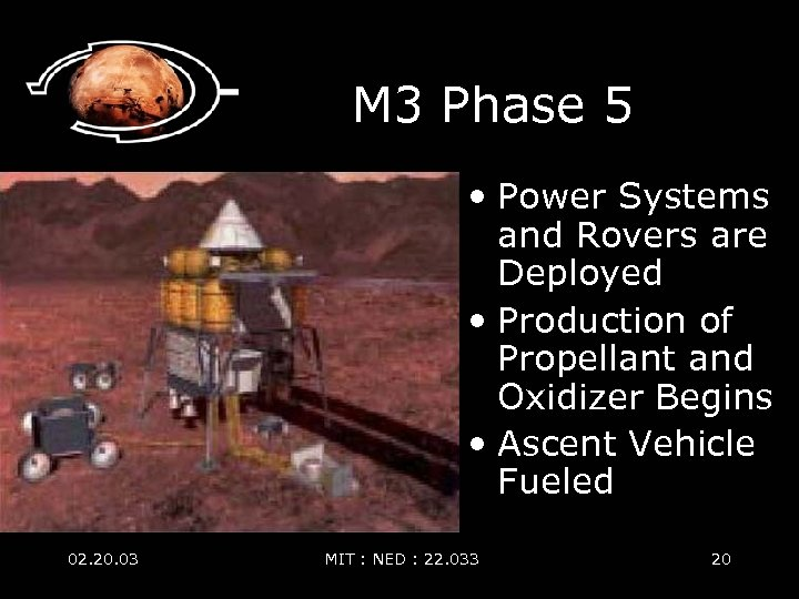 M 3 Phase 5 • Power Systems and Rovers are Deployed • Production of