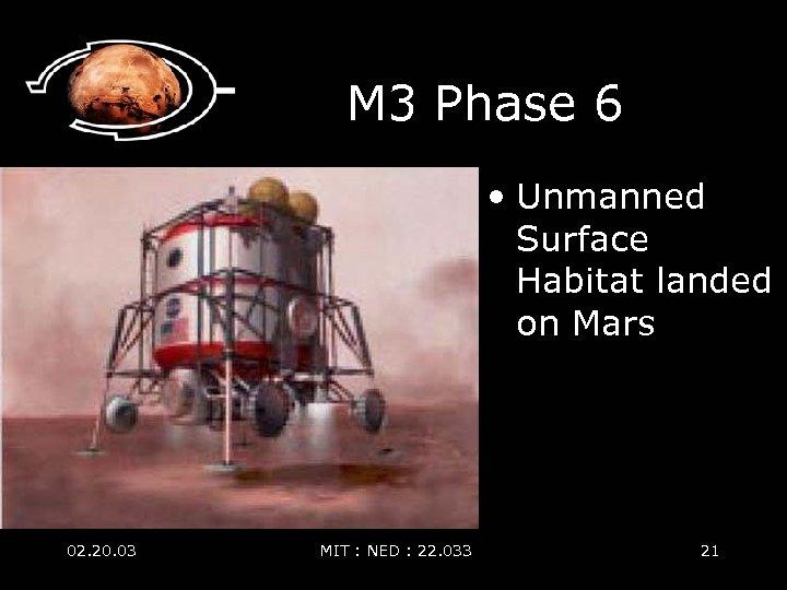M 3 Phase 6 • Unmanned Surface Habitat landed on Mars 02. 20. 03