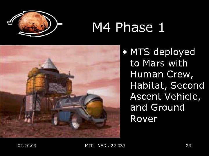 M 4 Phase 1 • MTS deployed to Mars with Human Crew, Habitat, Second