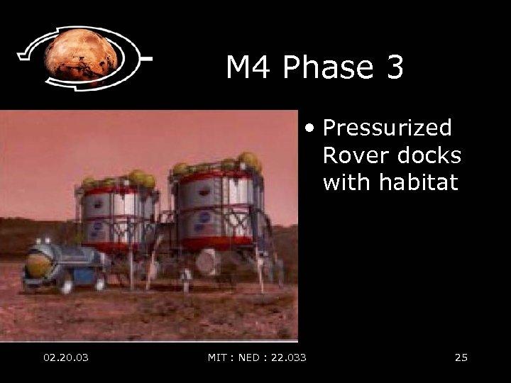 M 4 Phase 3 • Pressurized Rover docks with habitat 02. 20. 03 MIT