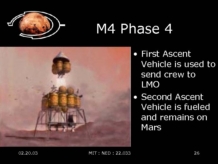 M 4 Phase 4 • First Ascent Vehicle is used to send crew to