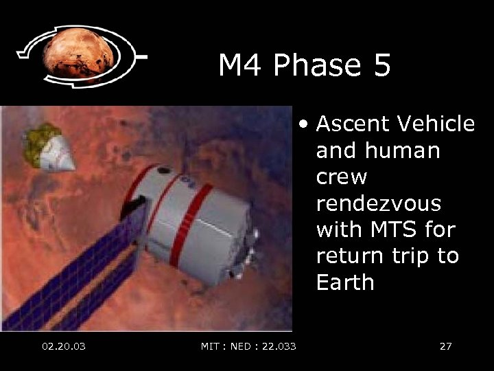 M 4 Phase 5 • Ascent Vehicle and human crew rendezvous with MTS for