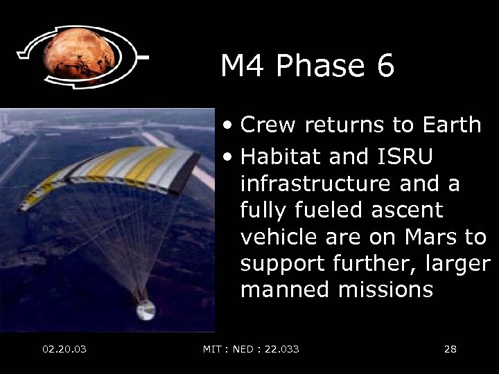 M 4 Phase 6 • Crew returns to Earth • Habitat and ISRU infrastructure