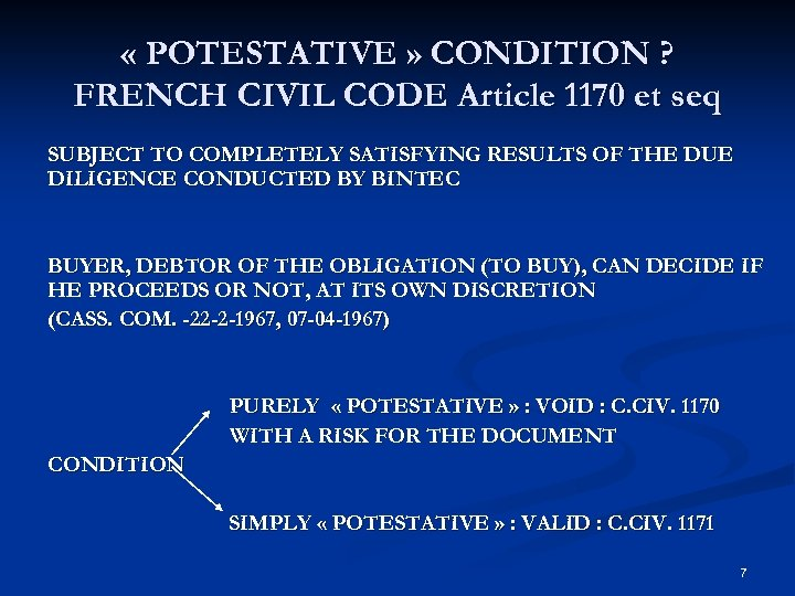 « POTESTATIVE » CONDITION ? FRENCH CIVIL CODE Article 1170 et seq SUBJECT