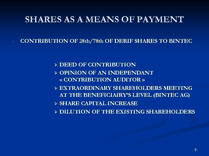 SHARES AS A MEANS OF PAYMENT - CONTRIBUTION OF 28 th/78 th OF DERIF