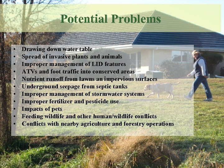 Potential Problems • • • Drawing down water table Spread of invasive plants and