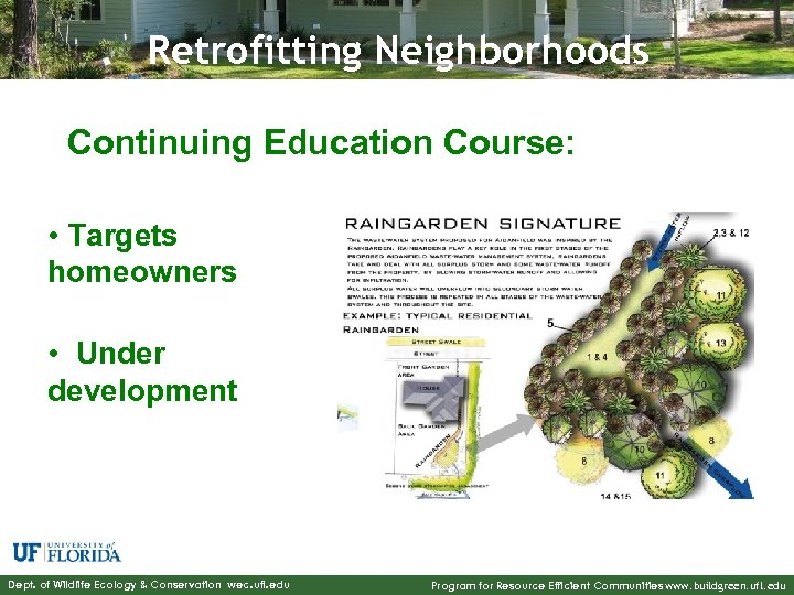 Retrofitting Neighborhoods Continuing Education Course: • Targets homeowners • Under development Dept. of Wildlife