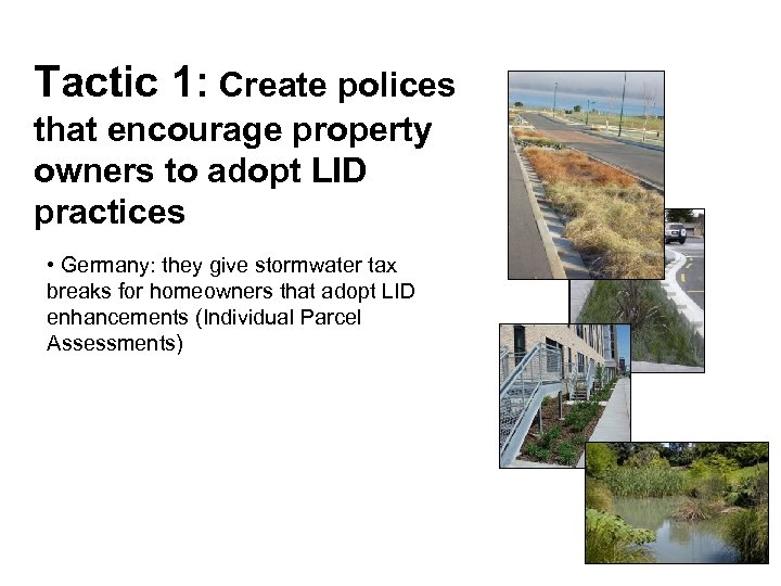 Tactic 1: Create polices that encourage property owners to adopt LID practices • Germany: