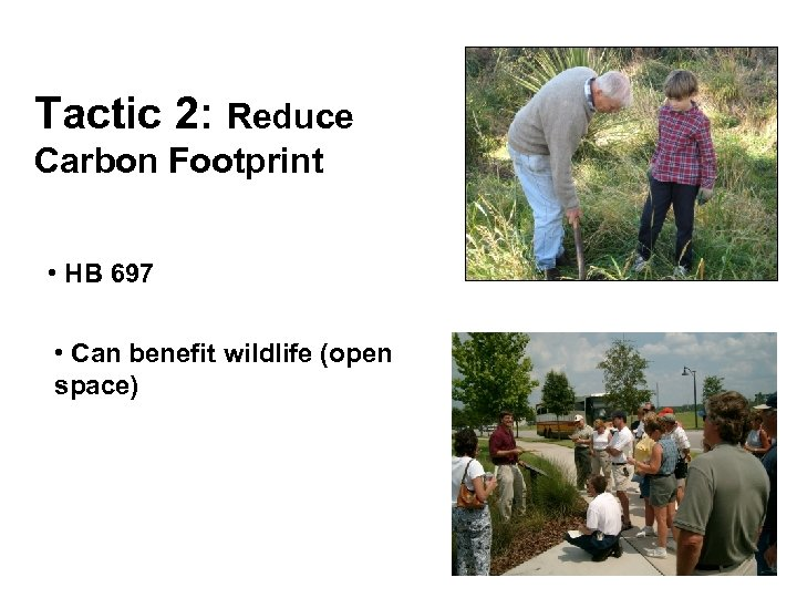 Tactic 2: Reduce Carbon Footprint • HB 697 • Can benefit wildlife (open space)