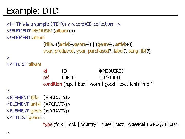 Example: DTD <!-- This is a sample DTD for a record/CD collection --> <!ELEMENT