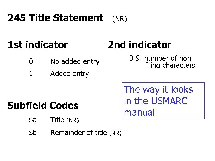 245 Title Statement 1 st indicator 0 2 nd indicator No added entry 1