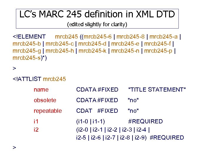 LC's MARC 245 definition in XML DTD (edited slightly for clarity) <!ELEMENT mrcb 245
