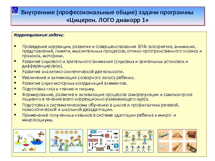 Внутренние (профессиональные общие) задачи программы «Цицерон. ЛОГО диакорр 1» Коррекционные задачи: § § §