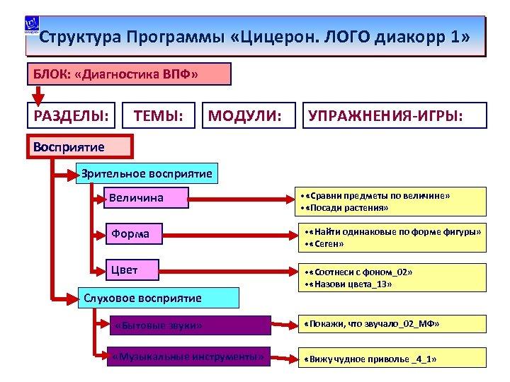 Структура Программы «Цицерон. ЛОГО диакорр 1» БЛОК: «Диагностика ВПФ» РАЗДЕЛЫ: ТЕМЫ: МОДУЛИ: УПРАЖНЕНИЯ-ИГРЫ: Восприятие
