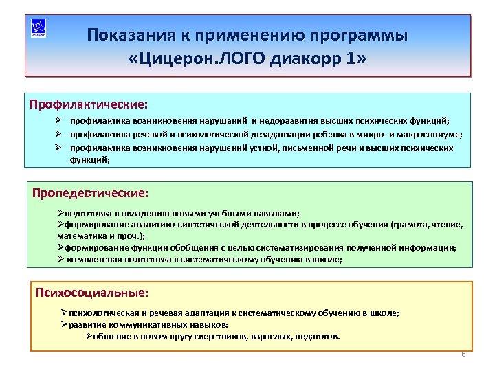 Показания к применению программы «Цицерон. ЛОГО диакорр 1» Профилактические: Ø профилактика возникновения нарушений и