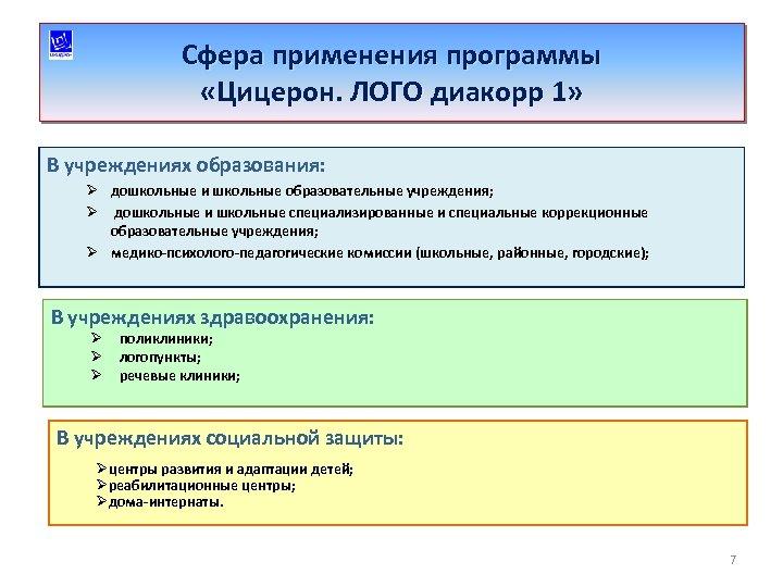 Сфера применения программы «Цицерон. ЛОГО диакорр 1» В учреждениях образования: Ø дошкольные и школьные